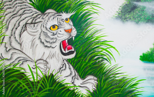 Deurstickers Hand getrokken schets van dieren White tiger