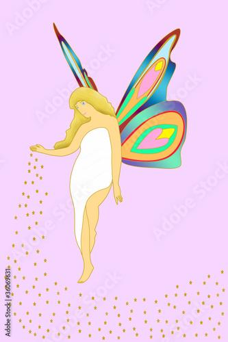 蝶の妖精 イラスト Canvas Print