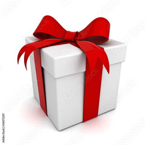 Gift box with red ribbon bow © masterzphotofo
