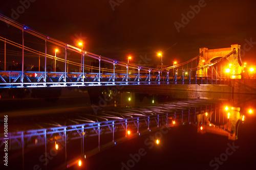 plakat Miasto w nocy - Most Grunwaldzki we Wrocławiu