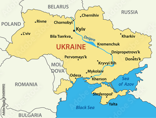 Fotografie, Obraz map of Ukraine - vector illustration