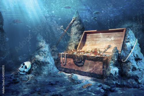 Staande foto Schip open treasure chest with bright gold underwater