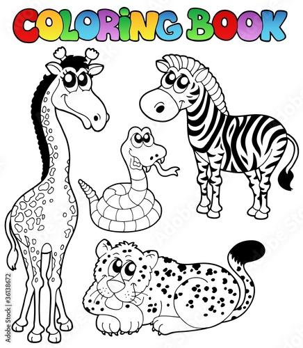 Tuinposter Doe het zelf Coloring book tropical animals 1