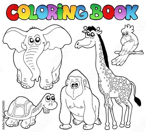 kolorowanka-tropikalnych-zwierzat-slon-zolw-goryl-zyrafa-papuga