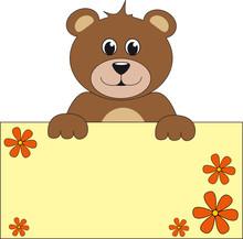 Brauner Teddy Mit Schild