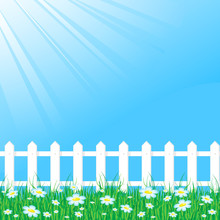 Blue Sky With White Fence