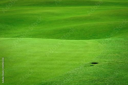 Foto op Plexiglas Groene Golf background. Detail of golf field with a ball hole