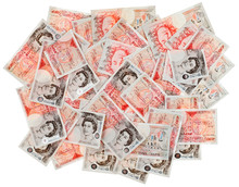 Many 50 Pound Sterling Bank Notes Business Background, Isolated
