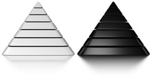Black And White Pyramids Onto A White Background