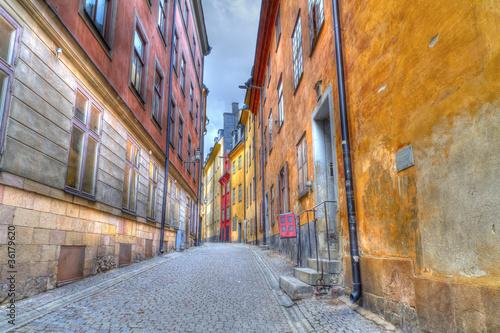 Foto  Gamla Stan,The Old Town in Stockholm, Sweden