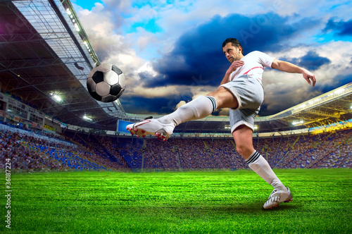 Recess Fitting Soccer ball Football player on field of stadium