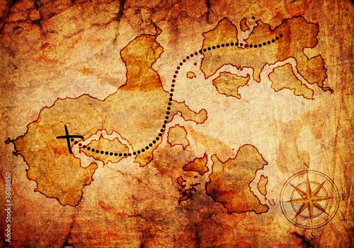 Fotografie, Obraz  old treasure map