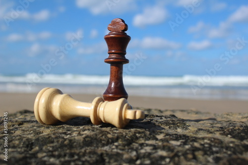Fotografie, Obraz  Chess mate, with sky background near the sea