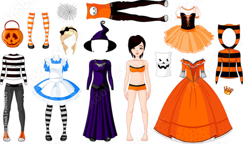 Poster Magie Halloween Girl with costumes