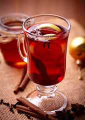 Fototapeta Herbata Hot tea with lemon, honey and spices for winter time