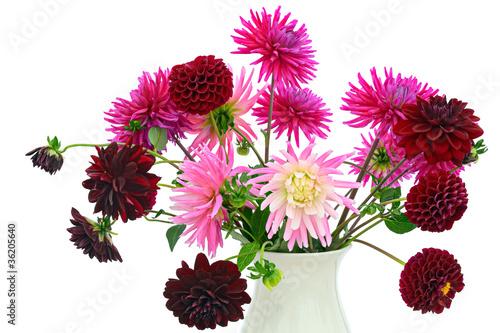 Fotografie, Obraz Flower arrangement of chrysanthemums and dahlias