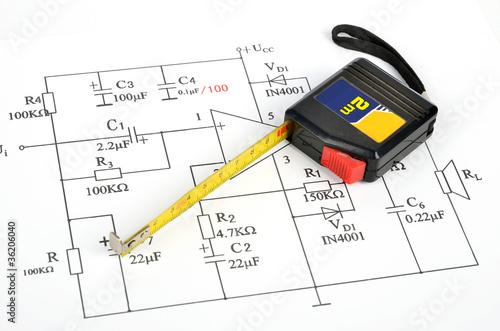Fantastic Circuit Diagram And Tape Measure Buy This Stock Photo And Explore Wiring Digital Resources Remcakbiperorg