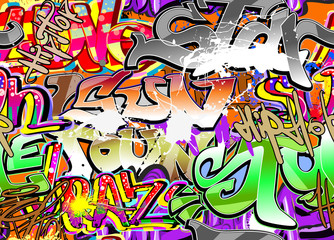 Naklejka Graffiti urban art seamless background
