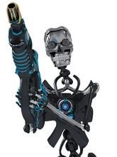 Skeleton Robot Holding A Laser...