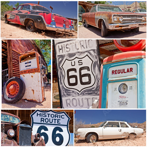 Deurstickers Route 66 Route 66 collage