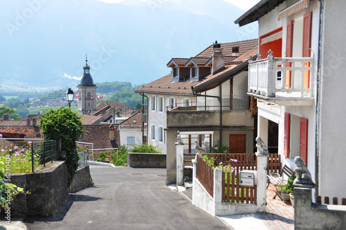 Fototapety, obrazy: Ollon town, French part of Switzerland