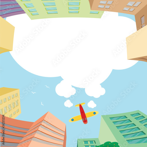 Photo sur Aluminium Avion, ballon Airplane flying over the city and white space for message