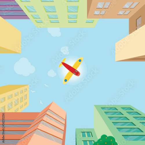 Canvas Prints Airplanes, balloon Airplane flying over the city
