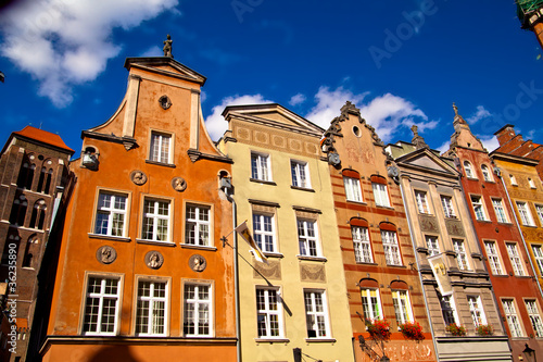 Photo Stands Old town in Gdansk Poland
