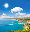 turquoise sea and perfect sunny blue sky. View of mediterranean