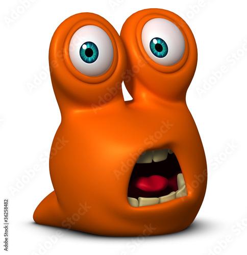 Poster de jardin Doux monstres 3d worm