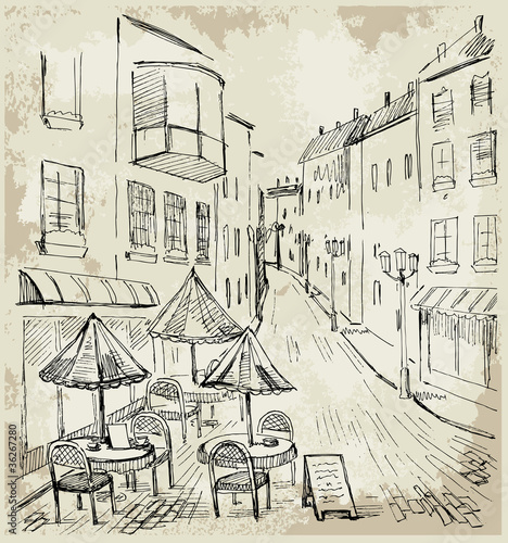 Photo sur Toile Drawn Street cafe Street cafe