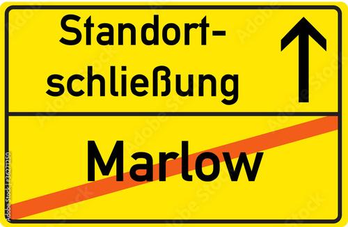 Schild Standortschließung Marlow Wallpaper Mural