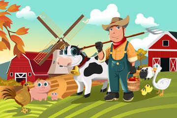 Farmer na farmi sa životinjama