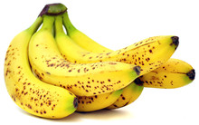 Bananas With Brown Spots Isolated On White Background