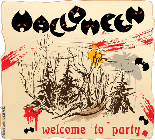 design of invitation card or placard to Halloween party