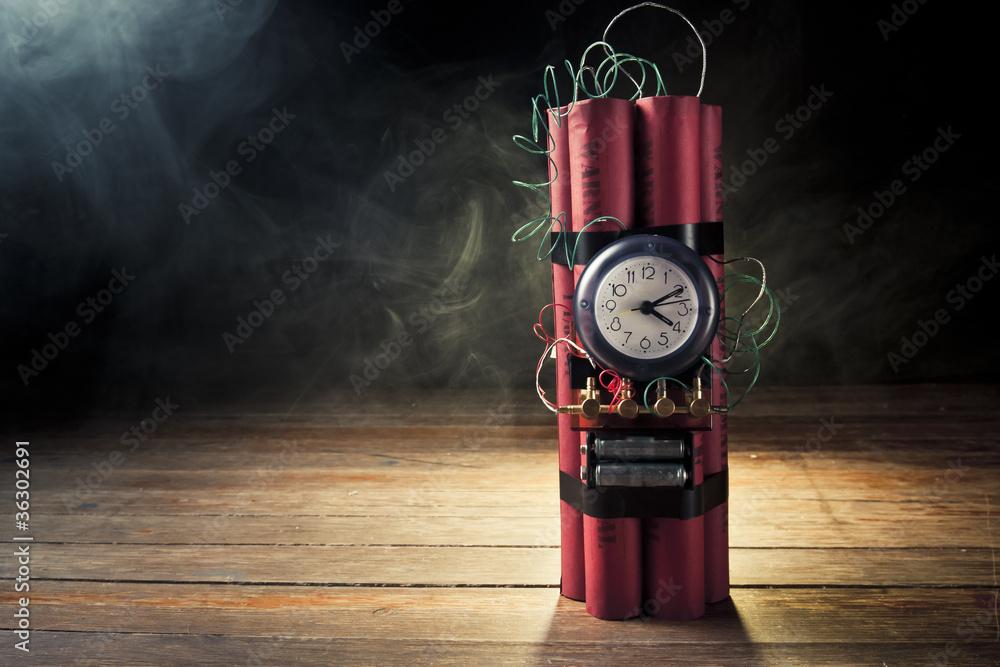 Fototapeta Dynamite time  bomb on a black background