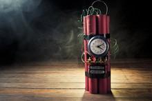 Dynamite Time  Bomb On A Black Background