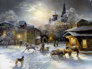 Fototapeta Zima Rural landscape, oil on a canvas