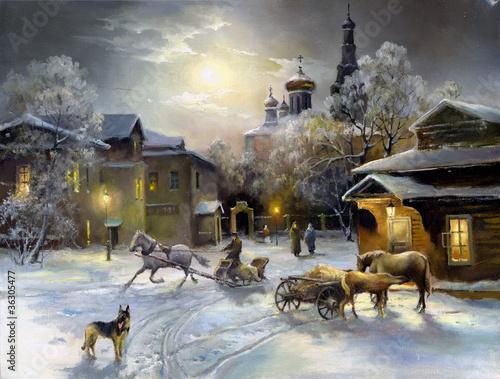 zimowy-wiejski-krajobraz-olej-na-plotnie