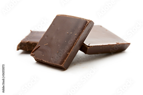 Staande foto Zuivelproducten Chocolate on the white background