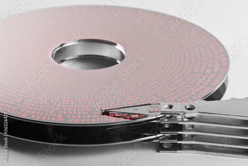 Foto hard disk platter and actuator arm