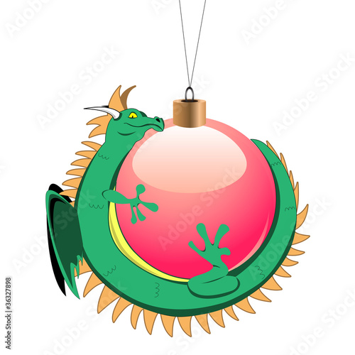Tiny dragon with christmas ball Poster