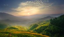 Sunrise At Terrace In Guangxi China