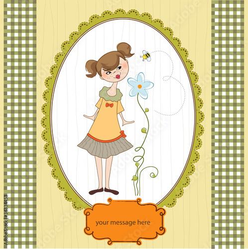 Staande foto Hoogte schaal romantic young girl smelling a flower