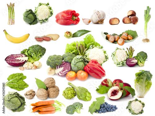 colección de fruta y vegetales aislados