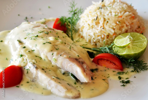 Recess Fitting Appetizer steak from fish with creamy sauce