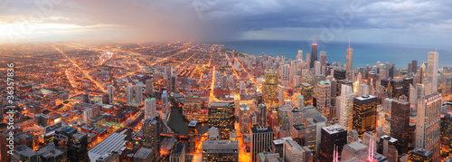 Chicago downtown aerial panorama