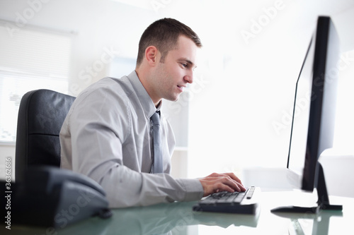 Garden Poster Businessman working concentrated on his computer