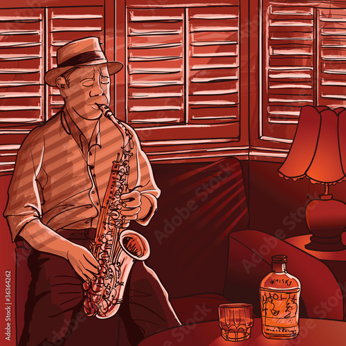 Staande foto Muziekband saxophonist