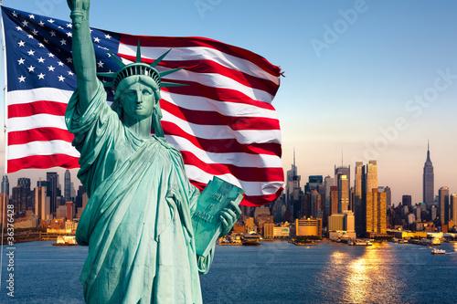 Zdjęcie XXL Panoramę Nowego Jorku, Statuę Wolności